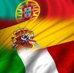 bandeiras de Espanha Portugal Itália